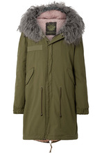 MR & MRS ITALY - Hooded Shearling-lined Cotton-canvas Parka - Army green