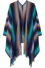 Missoni | Missoni - Fringed Crocheted Wool Wrap - Blue | Clouty