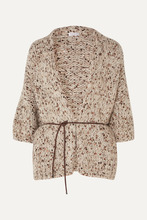Brunello Cucinelli | Brunello Cucinelli - Belted Sequined Chunky-knit Cardigan - Beige | Clouty