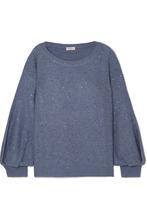Brunello Cucinelli | Brunello Cucinelli - Sequin-embellished Cashmere And Silk-blend Sweater - Blue | Clouty