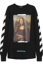 Off-White | Off-White - Printed Cotton-jersey Top - Black | Clouty