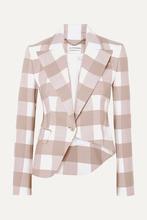 Altuzarra | Altuzarra - Lazio Asymmetric Gingham Wool-blend Twill Blazer - Beige | Clouty