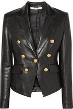 Veronica Beard | Veronica Beard - Cooke Double-breasted Leather Blazer - Black | Clouty