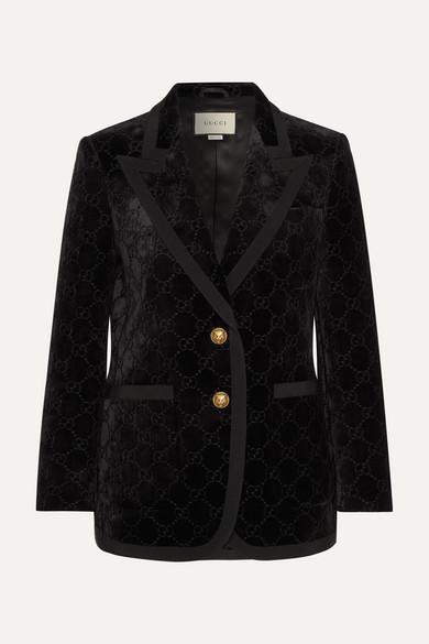 GUCCI   Gucci - Grosgrain-trimmed Metallic Velvet-jacquard Blazer - Black   Clouty