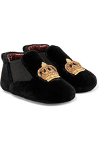 Dolce & Gabbana Junior   Dolce & Gabbana Kids - Size 16 - 20 Embroidered Velvet Slippers   Clouty
