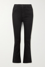 Mother | Mother - The Hustler Cropped Frayed High-rise Flared Jeans - Black | Clouty