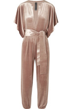 Norma Kamali | Norma Kamali - Rectangle Velvet Jumpsuit - Antique rose | Clouty