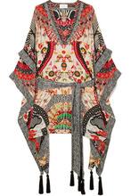 Camilla | Camilla - Embellished Printed Silk Crepe De Chine Kaftan - Cream | Clouty