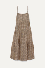 Matteau | Matteau - Floral-print Tiered Cotton-poplin Maxi Dress - Beige | Clouty