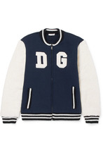 Dolce & Gabbana Junior | Dolce & Gabbana Kids - Ages 8 - 12 Appliqued Cotton-blend Jersey And Wool-blend Terry Bomber Jacket | Clouty