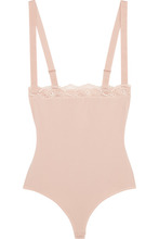 Wolford | Wolford - Lace-trimmed Stretch-cotton Bodysuit - Blush | Clouty
