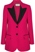 GUCCI | Gucci - Faille-trimmed Wool And Silk-blend Crepe Blazer - Fuchsia | Clouty