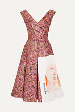 PRADA | Prada - Silk Faille-paneled Metallic Jacquard Midi Dress - Pink | Clouty