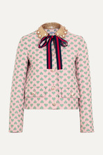 Gucci For Net-a-Porter | Gucci for NET-A-PORTER - Leather-trimmed Jacquard Jacket - Pastel pink | Clouty