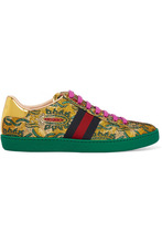 GUCCI | Gucci - Ace Metallic Leather-trimmed Brocade Sneakers - Green | Clouty