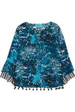Matthew Williamson | Matthew Williamson - Pompom-embellished Printed Silk Crepe De Chine Top - Petrol | Clouty
