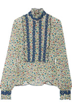 Anna Sui | Anna Sui - Ruffle-trimmed Embroidered Printed Silk-georgette Blouse - Green | Clouty