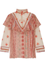 Anna Sui | Anna Sui - Printed Metallic Fil Coupe Chiffon And Embroidered Tulle Blouse - Pink | Clouty