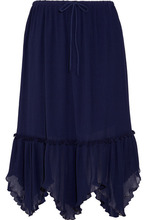 See by Chloé   See By Chloe - Plisse-georgette Midi Skirt - Midnight blue   Clouty