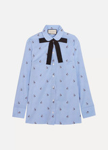 GUCCI | Gucci - Bow-embellished Embroidered Striped Cotton Shirt - Sky blue | Clouty