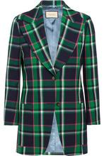 GUCCI | Gucci - Embellished Tartan Wool Blazer - Green | Clouty