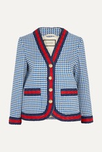 GUCCI | Gucci - Striped Houndstooth Wool-blend Jacket - Blue | Clouty