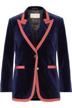 GUCCI | Gucci - Grosgrain-trimmed Velvet Blazer - Navy | Clouty