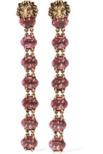 GUCCI | Gucci - Gold-tone Crystal Clip Earrings - one size | Clouty