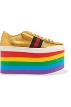 GUCCI | Gucci - Metallic Leather Platform Sneakers - Gold | Clouty
