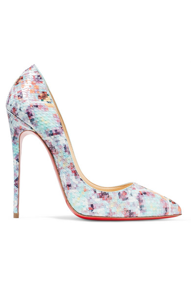 Christian Louboutin | Christian Louboutin - Pigalle Follies 120 Printed Python Pumps - Sky blue | Clouty
