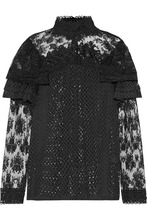 Anna Sui | Anna Sui - Ruffled Embroidered Lace Blouse - Black | Clouty