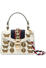 GUCCI | Gucci - Sylvie Mini Embellished Chain-trimmed Leather And Canvas Shoulder Bag - White | Clouty
