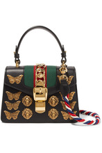 GUCCI | Gucci - Sylvie Mini Embellished Leather Shoulder Bag - Black | Clouty