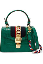 GUCCI | Gucci - Sylvie Mini Chain-embellished Alligator Shoulder Bag - Emerald | Clouty