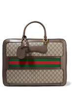 GUCCI | Gucci - Echo Small Leather-trimmed Coated-canvas Suitcase - Brown | Clouty