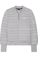 NIKE | Nike - Aeroloft Perforated Quilted Dri-fit Shell And Stretch-jersey Down Jacket - Gray | Clouty