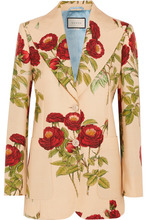 GUCCI | Gucci - Floral-print Wool And Mohair-blend Blazer - Beige | Clouty