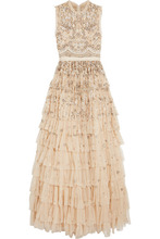 Needle & Thread | Needle & Thread - Pearlescent Tiered Embellished Tulle Gown - Beige | Clouty