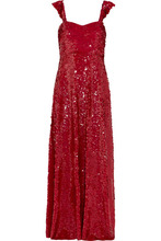 VALENTINO | Valentino - Paillette-embellished Silk-georgette Gown - Red | Clouty