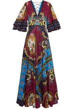 Etro | Etro - Ruffled Silk-jacquard And Printed Crepe De Chine Maxi Dress - Red | Clouty