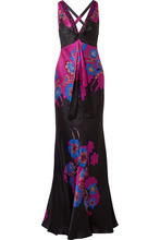 Etro | Etro - Embellished Floral-print Silk-satin Gown - Black | Clouty