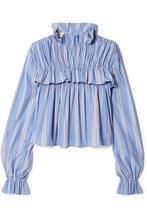 Marni   Marni - Ruffled Striped Cotton-poplin Top - Blue   Clouty