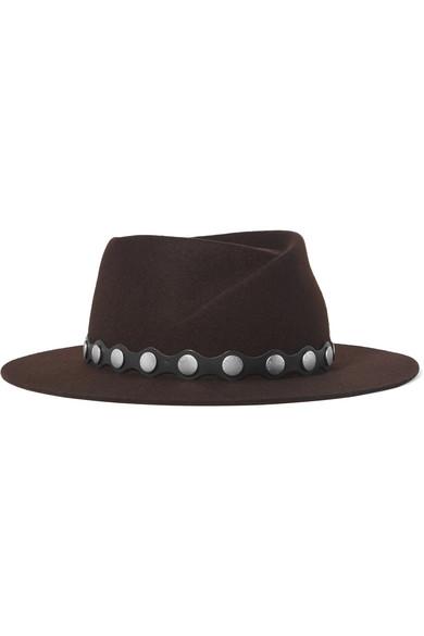 RAG & BONE | rag & bone - Edie Studded Leather-trimmed Wool Fedora - Brown | Clouty