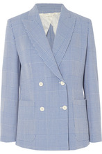 MAX MARA | Max Mara - Double-breasted Prince Of Wales Checked Wool Blazer - Blue | Clouty