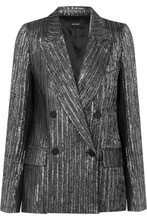 Isabel Marant | Isabel Marant - Denel Double-breasted Textured-lame Blazer - Silver | Clouty