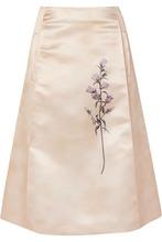 Bottega Veneta | Bottega Veneta - Pleated Printed Duchesse-satin Skirt - Ivory | Clouty
