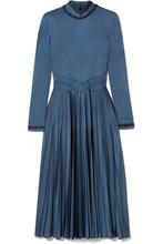 Bottega Veneta | Bottega Veneta - Swarovski Crystal-embellished Pleated Satin Dress - Navy | Clouty