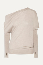 Tom Ford   TOM FORD - One-shoulder Cashmere And Silk-blend Sweater - Mushroom   Clouty