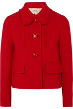 MIU MIU | Miu Miu - Ruffle-trimmed Wool-crepe Jacket - Red | Clouty