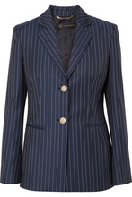 Versace | Versace - Striped Wool-twill Blazer - Navy | Clouty